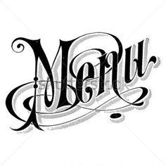 Modèle Vintage DE Menu Polices Rétro Calligraphique Noir ET Blanc Fond Carré Simple Avec Des Éléments Typographiques ET DE Grunge Vecteur image vectorielle - Clipart.me