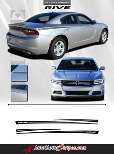 2015-2016 Dodge Charger Rive Hood Spear and Rear Quarter Panel Mopar Style Vinyl…
