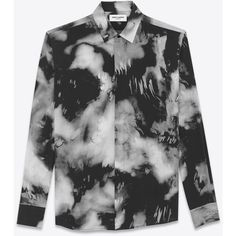 Saint Laurent Yves-neck Shirt (1,360 CAD) ❤ liked on Polyvore featuring men's fashion, men's clothing, men's shirts, mens longsleeve shirts, mens button shirts, mens long sleeve button down shirts, mens long sleeve shirts and mens extra long sleeve shirts