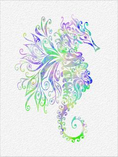 SEAHORSE  Archival Art Print 8 x 10 Stylized Seahorse Watercolor Silhouette Painting Print  Wall Decor Home, Office, Bathroom, Child's Room on Etsy, $30.00