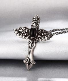 Caperci Men's #Hawk Style #Cross Pendant Necklace in Stainless Steel Chain 57cm: Caperci: Jewelry