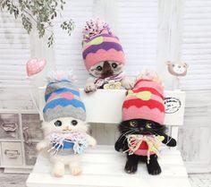 Handmade cute Needle felting project wool cats(Via @chata528)