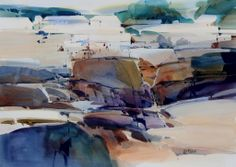 Misty Mendocino watercolor on paper Dale Laitinen Watercolor Images, Watercolor Trees, Watercolor Artists, Watercolor Landscape, Abstract Watercolor, Watercolor And Ink, Landscape Art, Landscape Paintings, Watercolor Paintings