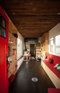 Eco-friendly tiny house with a drawbridge deck
