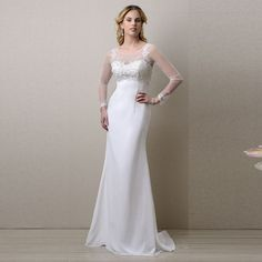 New Arrival Chiffon See Through Long Sleeves White Wedding Dresses vestido de noiva Scoop Applique Simple Bridal Gown Plus Size