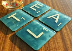 Fused Glass TEAL Scrabble Tile Coasters