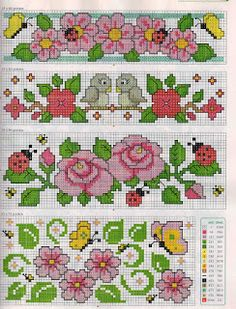 Might put these at the bottom of a pillow case dress for Adalyn! 123 Cross Stitch, Cross Stitch Bookmarks, Cross Stitch Borders, Cross Stitch Charts, Cross Stitch Designs, Cross Stitch Embroidery, Cross Stitch Patterns, Cross Stitch Geometric, Butterfly Cross Stitch