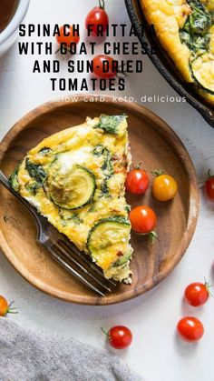 Spinach Frittata with sun-dried tomatoes, zucchini, and goat cheese is a wickedly flavorful breakfast, perfect for sharing with friends and family! #breakfast #keto #lowcarb #healthy Most Popular Recipes, Amazing Recipes, Favorite Recipes, Spinach Frittata, Quiche, Good Healthy Recipes, Healthy Eats, Recipe Maker, Clean Life