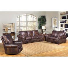 Sam's Club - Kingston Top-Grain Leather Sofa, Loveseat and Recliner Living Room Set