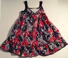 TCP The Children's Place Red Blue Summer Quilt Patch Cotton Dress Girls 3 3T