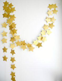 Gold Bronze star Garland, Holiday decoration, Gold party garland