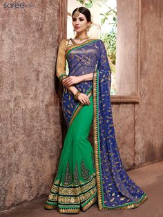 BLUE AND GREEN NET SAREE WITH EMBROIDERY WORK