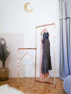 DIY: Copper & Wood Garment Rack - Lili in wonderland