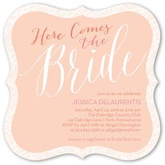 Blushing Bride 5x5 Flat Stationery Card by Éclair Paper Company