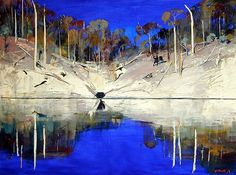 Arthur Boyd - Arthur Merric Bloomfield Boyd was a leading Australian painter of the late century. Boyd's work ranges from impressionist renderings of Australian landscape to starkly expressionist figuration, and many canvases feature both. Australian Painting, Australian Artists, Abstract Landscape, Landscape Paintings, Arthur Boyd, Artwork Images, Artist Art, Modern Art, Scenery
