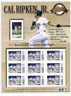 """Estados Unidos, 2007 Cal Ripken Jr. Hoja Recuerdo de 9 timbres personalizados con la imagen del beisbolista. Jugador de los Orioles de Baltimore, Cal Ripken Jr., superó el récord de Lou Gehrig al jugar 2632 juegos consecutivos, razón por la que se ganó el apodo de """"El Hombre de Acero"""" y que le otorgó un lugar en elSalóndelaFamadelBeisbol."""