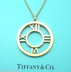 Tiffany & Co. Authentic Solid Gold ATLAS 2003 Roman Numeral Pendant LARGE ITALY
