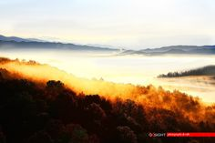 the early morning colours and fog over the tops of Pindos Colours, Mountains, Nature, Travel, Image, Naturaleza, Viajes, Trips, Off Grid