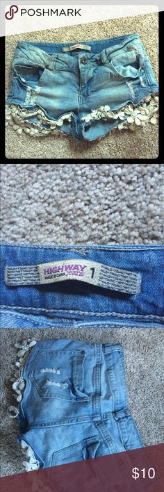 New Highway Wet Seal shorts Never worn Highway shorts from Wet Se with lace hem! Super cute but just never worn! Highway Jeans Shorts Jean Shorts