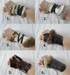 Fun with fur and leather to create a Renaissance -style gauntlet.