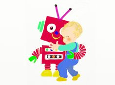 Little Red Robot have a cuddle