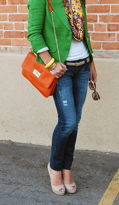 Green, Orange, White, Beige / Nude, Jeans Outfit