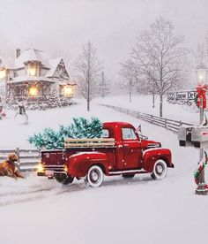 christmas scenes I want more than anything is time with you, Mark Christmas Red Truck, Christmas Scenes, Christmas Images, Country Christmas, Christmas Art, Winter Christmas, Beautiful Christmas Pictures, Old Time Christmas, Illustration Noel