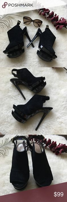 Jessica Simpson Heels Suede like heels. Good condition. Has sign of wear on the side Jessica Simpson Shoes Heels