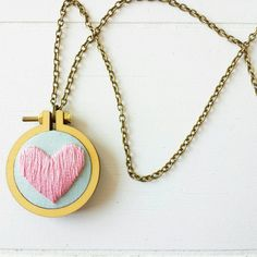 Hand Embroidered Jewelry, Heart Necklace, Bold Pendant, Embroidery Hoop Necklace, Colorful Jewelry