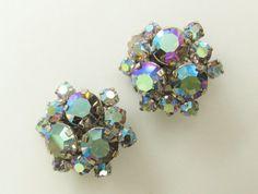 Earrings Vintage Austria Blue Crystal by GrandVintageFinery, $22.95