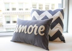 Amore Pillow  Italian Love in Charcoal Gray by HoneyPieDesign, $39.00