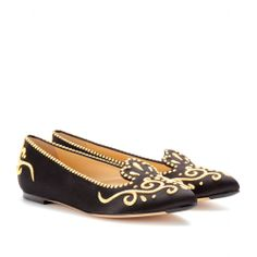 Charlotte Olympia COUNTESSA EMBROIDERED SILK-SATIN SLIPPERS