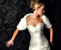 Faux fur bridal shrug