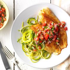 Blackened Tilapia with Zucchini Noodles Recipe -I love quick and bright meals like this one-skillet wonder, which is delicious with sliced avocado on top. Homemade pico de gallo is easy to do the night before. —Tammy Brownlow, Dallas, Texas