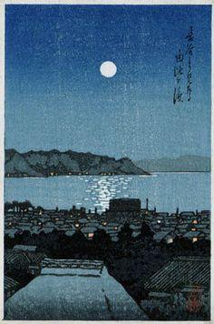 hanga gallery . . . torii gallery: Yuigahama from Hase, Kamakura by Kawase Hasui