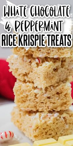 If you love Rice Krispie treats you are going to love these White Chocolate and Peppermint Rice Krispie Treats! They are crunchy, chewy, sweet, and delicious with the added flavor of peppermint and creaminess of white chocolate! Delicious Cookie Recipes, Yummy Cookies, Bar Recipes, Family Recipes, Cooking Recipes, Rice Krispie Treats Variations, Christmas Desserts, Christmas Time, Stick Of Butter