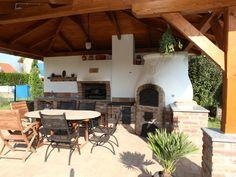 Kemax - Balatonföldvár kerti konyha Garden Pavillion, Backyard Party Decorations, Diy Pizza Oven, Bbq Area, Outdoor Kitchen Design, Barbacoa, Pergola, Outdoor Structures, House Styles