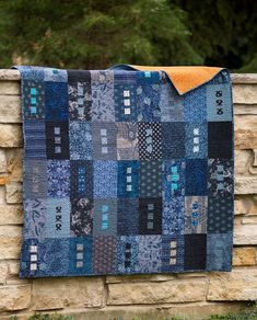 Love the colors Zen: blue and black cottons, various home dec weight fabrics Amy Walsh for Blue Underground Studios, Inc. Batik Quilts, Jellyroll Quilts, Scrappy Quilts, Patchwork Quilting, Easy Quilts, Denim Quilts, Patchwork Ideas, Modern Quilting, Longarm Quilting