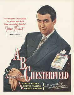 James Stewart for Chesterfield cigarettes ,1947