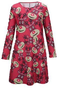 Christmas Elk Pattern Round Neck A-line Dress