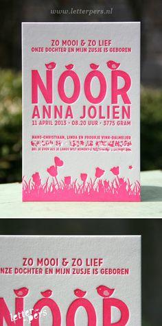 letterpers_letterpress_Noor_geboortekaartje_vogeltje_gras_fluor_neon_roze