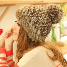 Women's Cony Hair Winter Warm Kintted Cap