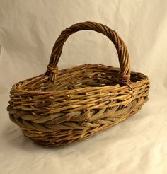 Woven Twig Basket  Natural Branch Rustic by ChicMouseVintage