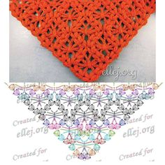 This Pin was discovered by Aga Crochet Shawl Diagram, Crochet Stitches Chart, Crochet Poncho, Afghan Crochet Patterns, Crochet Scarves, Crochet Motif, Crochet Lace, Knitting Machine Patterns, Crochet Triangle