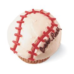 Baseball Cupcake by familyfun: Use Dad's name for Father's Day! #Baseball_Cupcake #Fathers_Day #familyfun