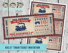 Vintage Train Ticket Invitation by 3LittleMonkeysStudio on Etsy, $15.00