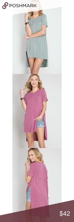 Gotta Have It Hi-Low Slit Top - Slate We have put the Gotta Have It Hi-Low Slit Top at the top of our must-have list! Stretchy and ultra soft cotton modal mix knit top features a flowy hi-low bodice with high slits on the side.  55% Cotton 45% Modal Knit  (Available in Mauve and Slate) . . . If you would like to make an offer, please use the OFFER BUTTON. {10% discount on all 2+ orders} . . FOLLOW US✌️ Insta : shop.likenarly Facebook: likenarly Website : likeNarly.com likeNarly Tops