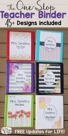 Teacher binder organization just got better! This One-Stop teacher planner has everything you need for classroom organization. This teacher plan book has lesson plan templates, 45+ planner covers to choose from, lots of classroom forms, calendars, and more! Love that it is EDITABLE with FREE updates for LIFE! Lesson plans will never be boring again!