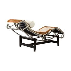 Chaise Lounge Chair in Brown Hide - Dot & Bo