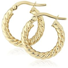 Jewelco London Ladies 9ct Yellow Gold Rope Twisted Round Hoop Earrings... ($50) ❤ liked on Polyvore featuring jewelry, earrings, gold rope earrings, twist earrings, hoop earrings, gold jewellery and twist jewelry
